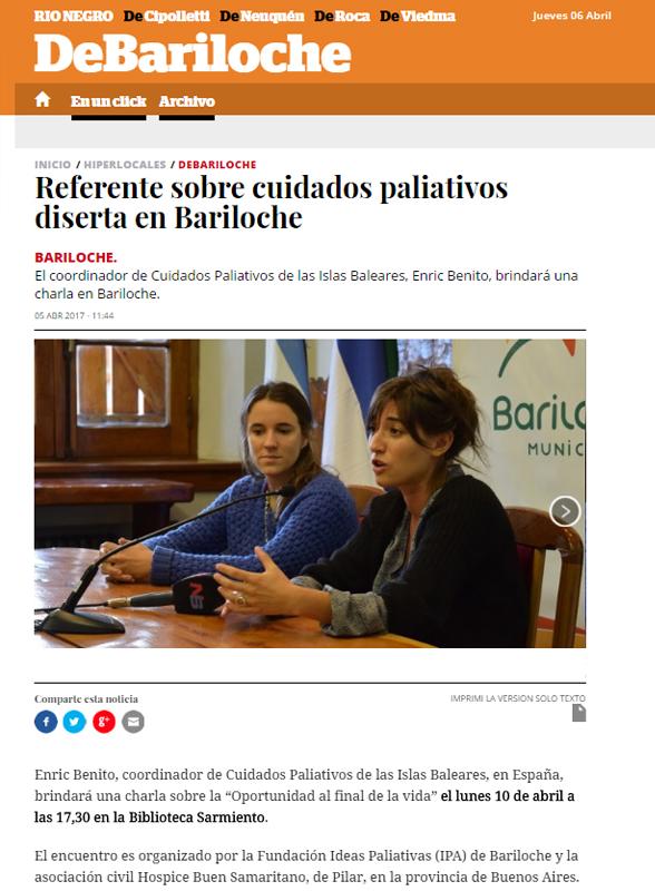 Referente sobre cuidados paliativos diserta en Bariloche