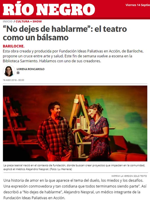 Nota de prensa - Obra de teatro